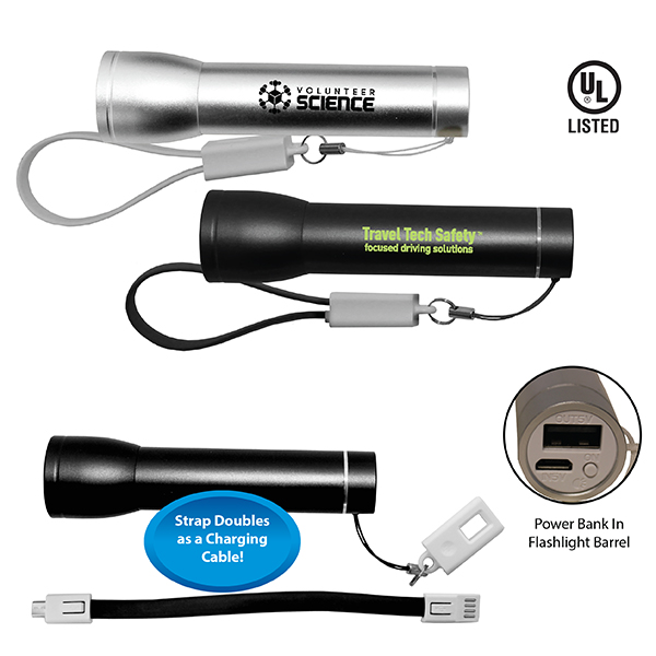 Flashlight Power Bank With Cable- Closeout
