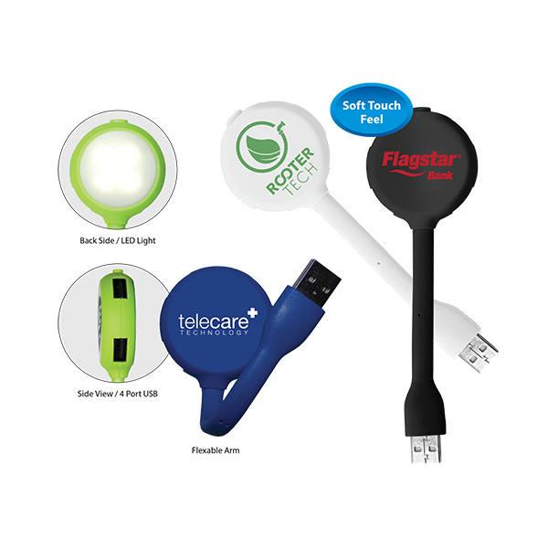 Halcyon® 4 Port USB Hub with LED Light - Closeout