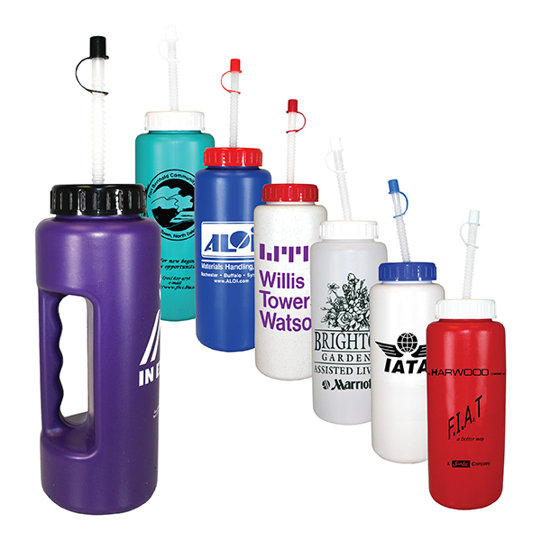 32 oz Grip Bottle with Flexible Straw