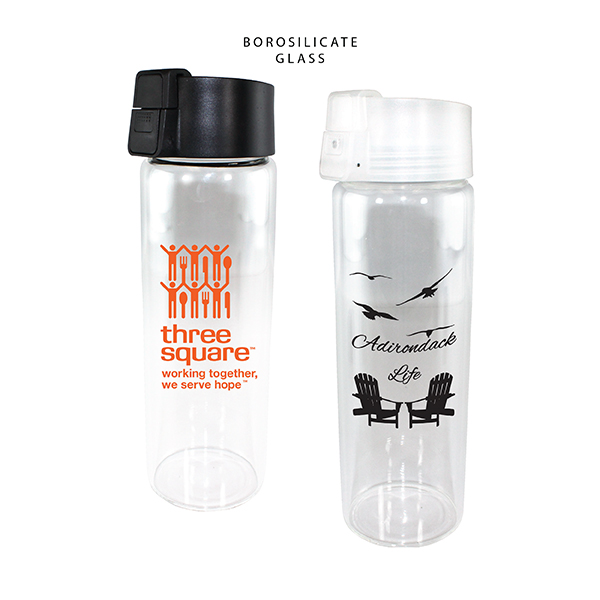 20 oz. Durable Clear Glass Bottle with Flip Top Lid