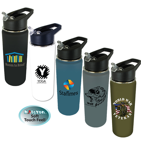 20 oz. Halcyon® Sports Bottle with Flip Straw Lid