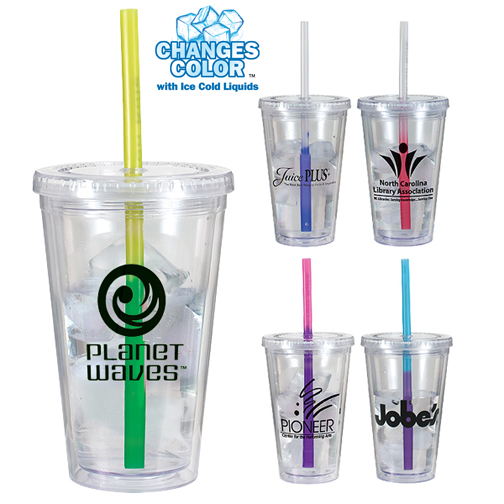16 oz. Victory Acrylic Tumbler with Mood Straw