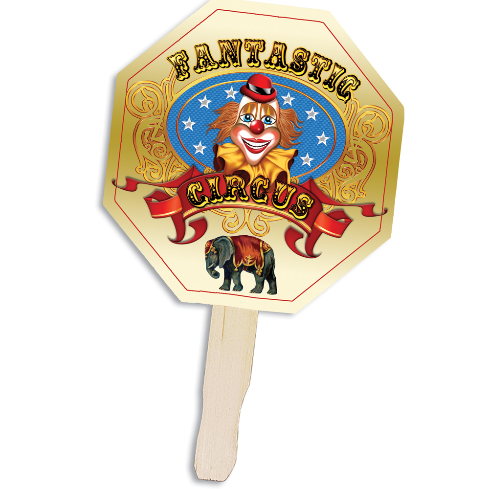 Stop Sign Shape Hand Fan, Full Color Digital