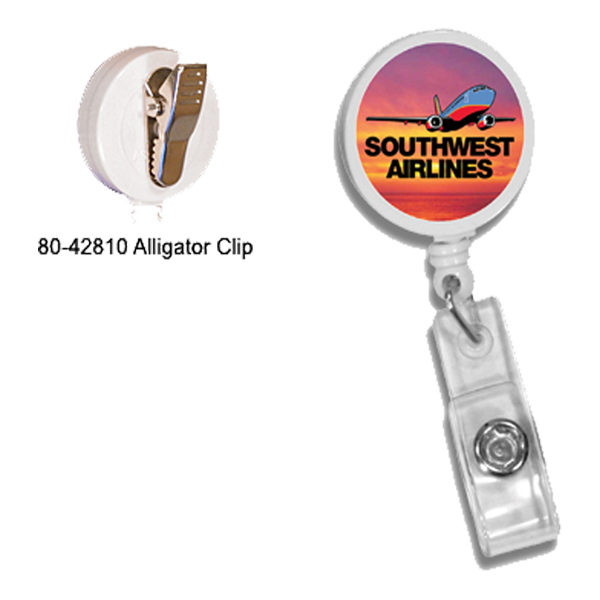 Round Retractable Badge Holder w/ Alligator Clip, Full Color Digital