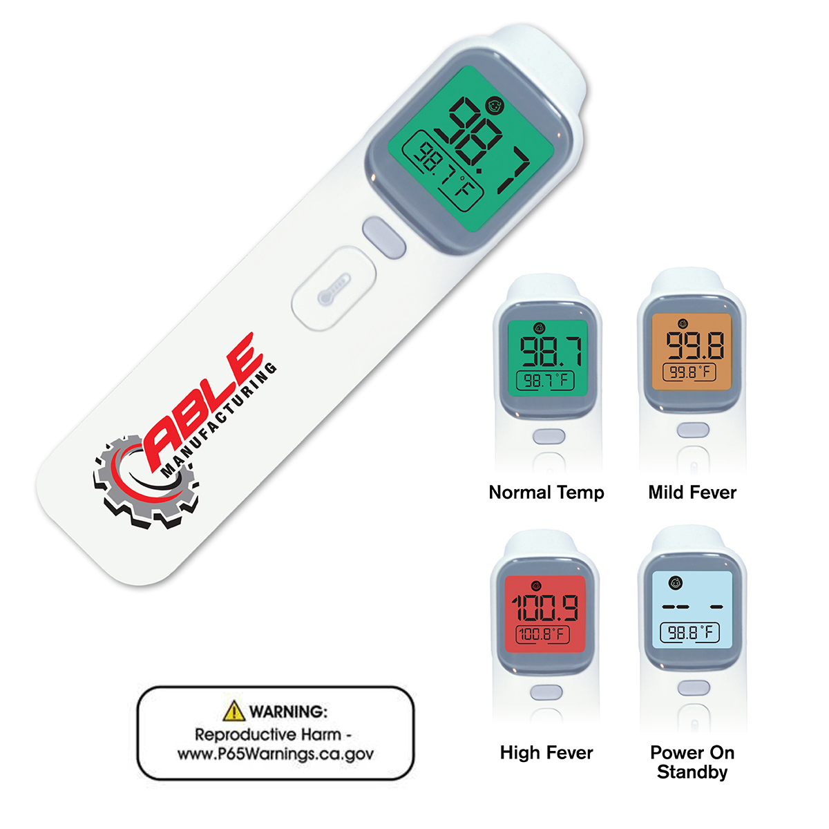 No-Contact Infrared Thermometer, Full Color Digital
