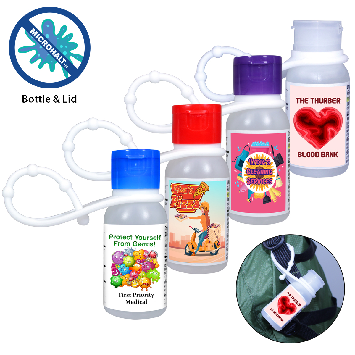 1 oz. Gel Sanitizer with lanyard , Full Color Digital