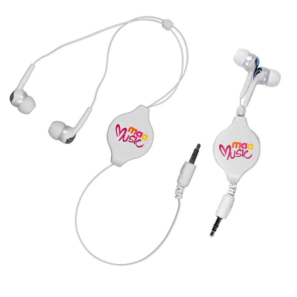 Retractable Ear Buds, Full Color Digital- Closeout