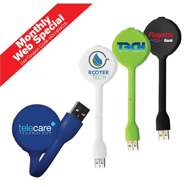 Halcyon® 4 Port USB Hub with LED Light, Full Color Digital