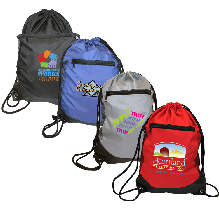 Soft RPET Pocket Drawstring Backpack, Full Color Digital