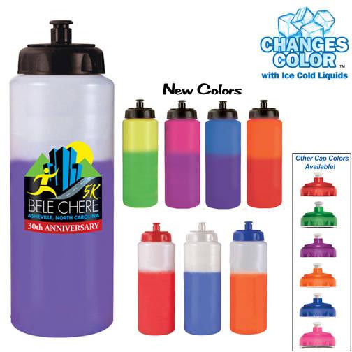 32oz. Mood Sports Bottle With Push'nPull Cap, Full Color Digital