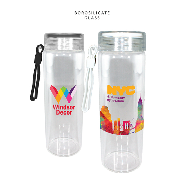 20 oz. Durable Clear Glass Bottle with Screw on Lid, Full Color Digital
