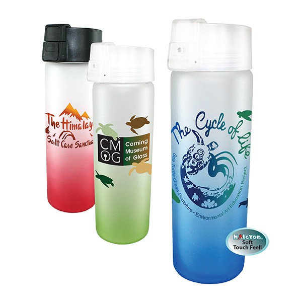 20 oz. Halcyon Frosted Glass Bottle with Flip Top Lid, Full Color Digital