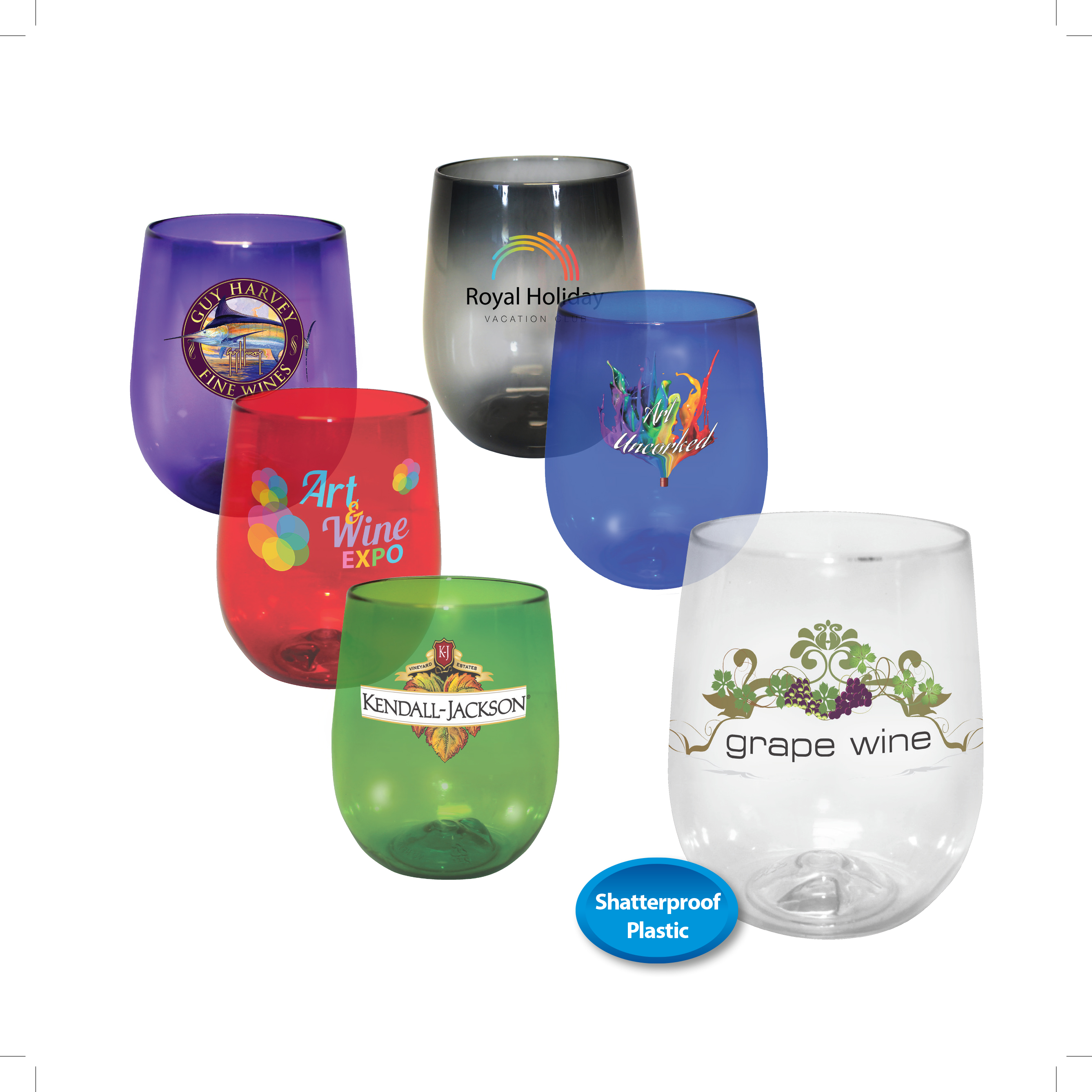 12 oz. Plastic Stemless Wine Glass, Full Color Digital