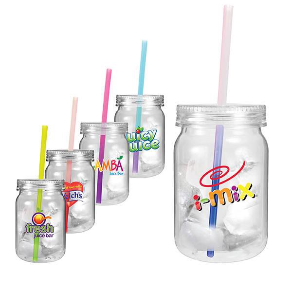 24 oz. Plastic Mason Jar with Mood Straw, Full Color Digital