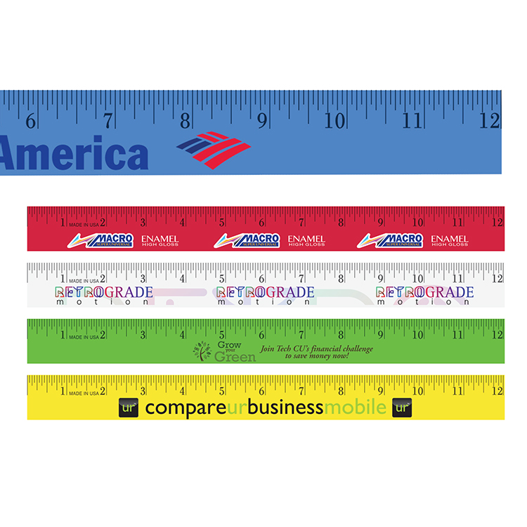 "12"" Enamel Wood Ruler, Full Color Digital"
