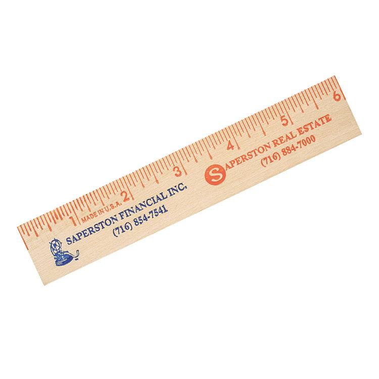 "6"" Natural Finish Flat Wood Ruler"