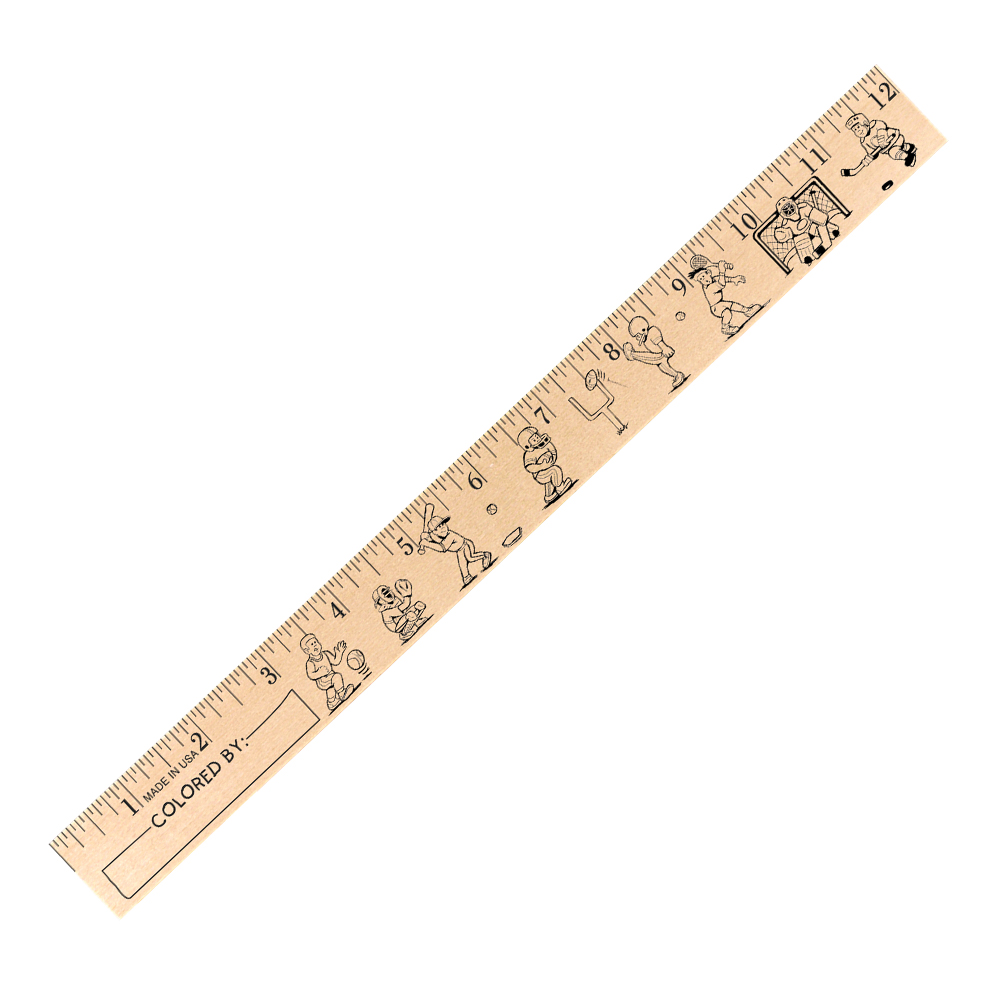 "Kids Playing Sports ""U"" Color Rulers - Natural wood finish"