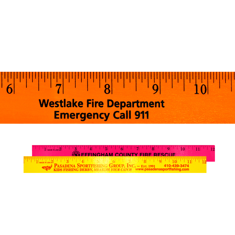 """12"""" Fluorescent Wood Ruler - English Scale"""
