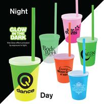 12 oz. Nite Glow Stadium Cup/Straw/Lid Set