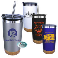 20 oz. Halcyon® Cork Bottom Tumbler with Stainless Straw/Flip Top Lid