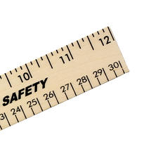 """12"""" Clear Lacquer Wood Ruler - English & Metric Scale"""