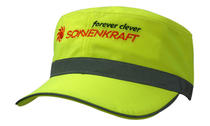 Luminescent Safety Military Cap with Reflective Open Sandwich & Reflective Crown Trim
