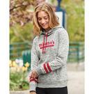 j. america 8674 women's melange fleece striped sleeve hooded pullover