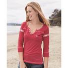 mv sport w1454 women's hailey henley three-quarter sleeve shirt